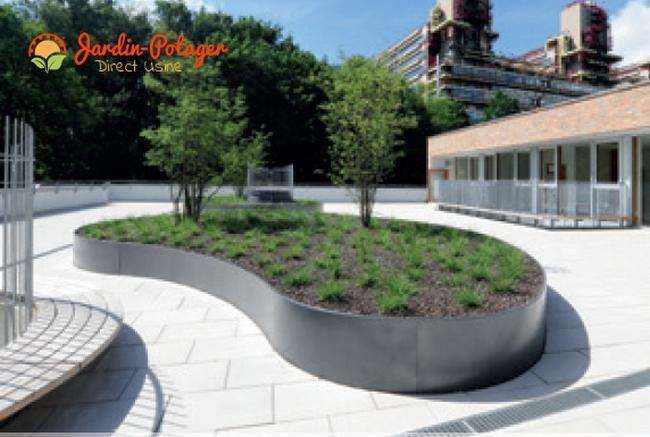 jardinière alu ovale- jardinière en corten ovale- bordure ovale en aluminium thermolaquée- jardinière ovale sur-mesure- jardinière alu ronde sur-mesure - parterre ovale- bordure haute courbée-