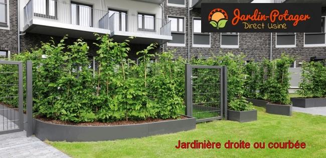 Jardinière en aluminium courbe- bordures aluminium courbe- bordure en acier corten rouillé- jardinière alu thermolaquée rouillée-